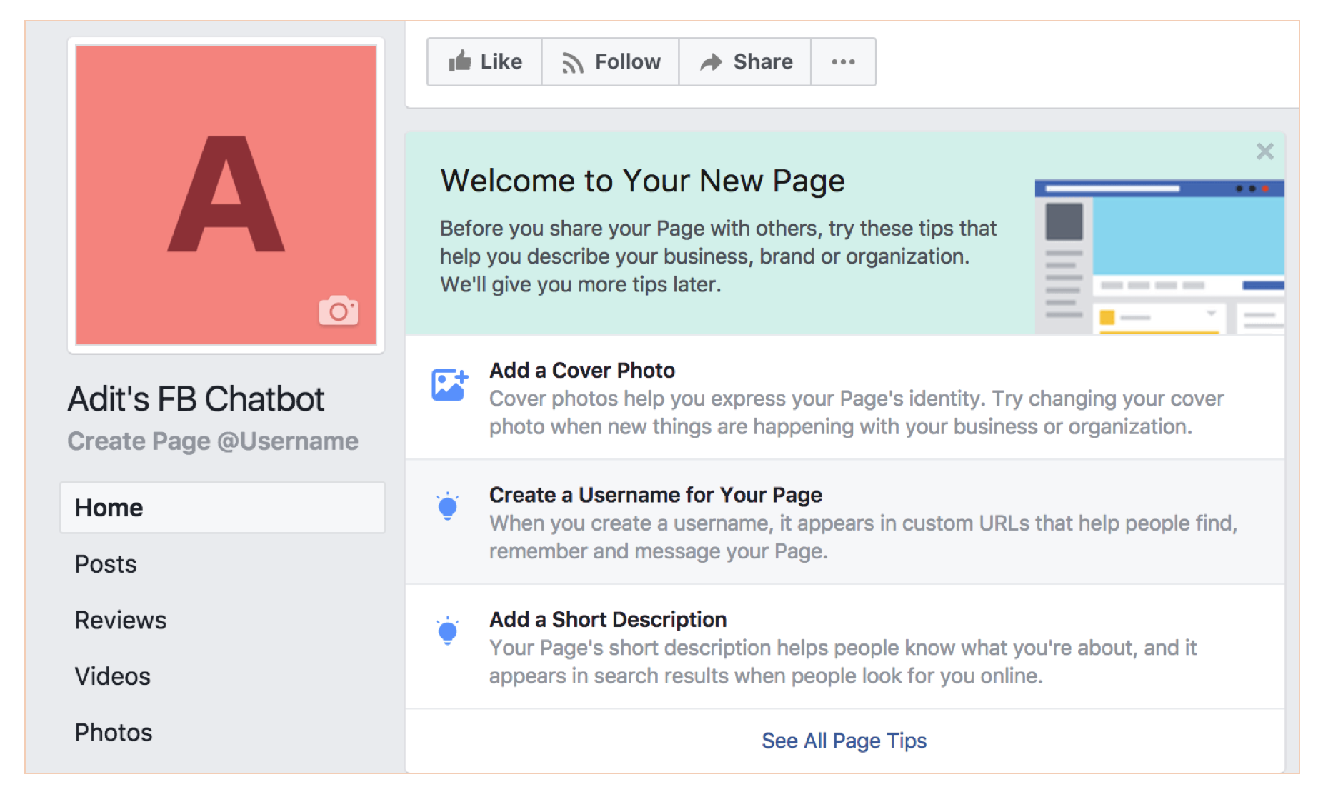 how to set up facebook chatbot